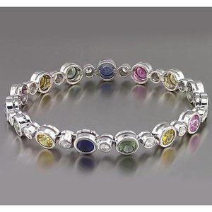 Jewelry - Multi Color Sapphire Tennis Bracelet Bezel Set 22.